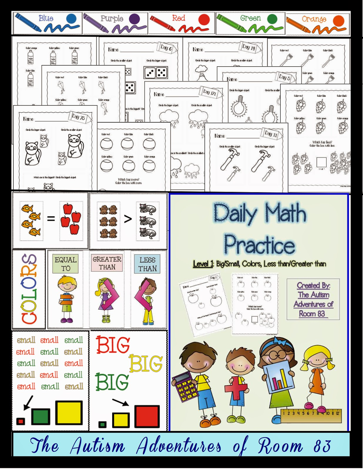 Daily Math Practice Level 1 BigSmall MoreLess Colors The – Maths Level 1 Worksheets