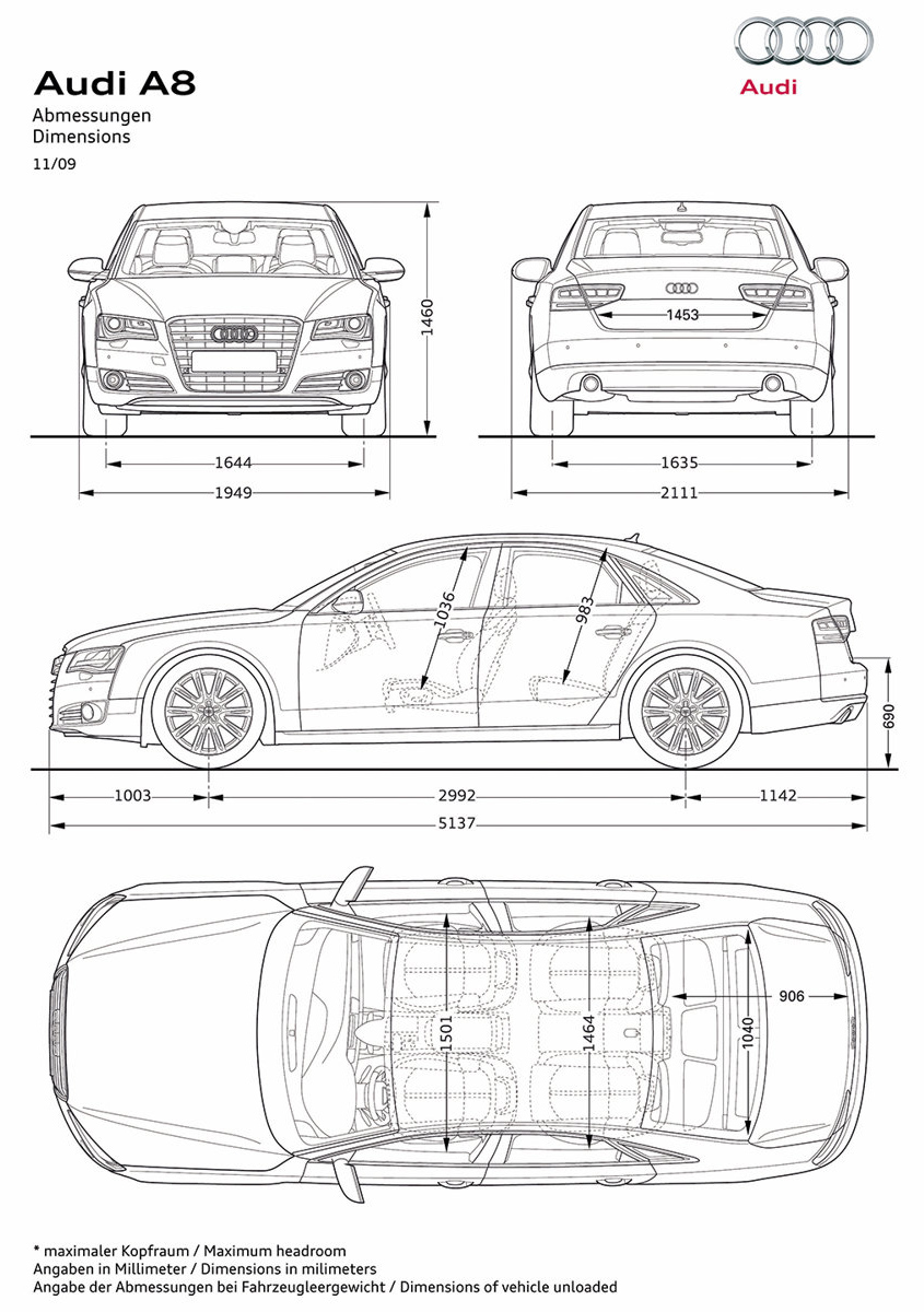 Blueprint   Audi A8 2011 Car Model