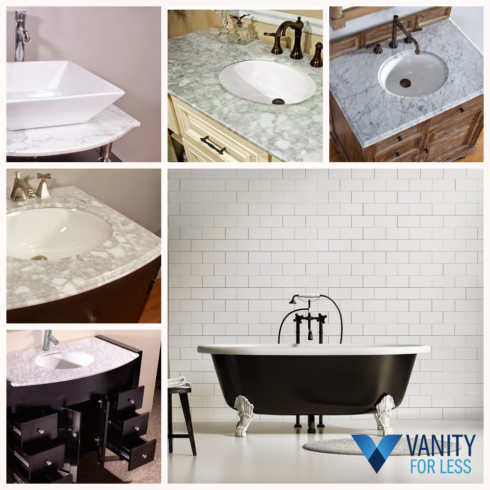 Matching Bathroom Vanity Countertop with Thassos White Marble Tile ...