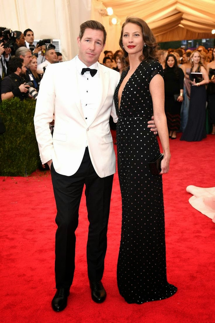 Christy Turlington Ed Burns _Met Gala 2014 Red Carpet Dresses - Best Red Carpet Fashion Met Ball 2014 - Harpers BAZAAR find more mens fashion on lovely woman dress
