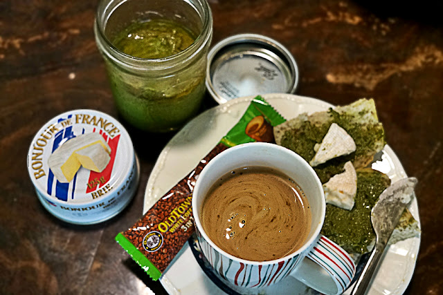 Midday Pick Me Up with Coffee, Bread and Pesto
