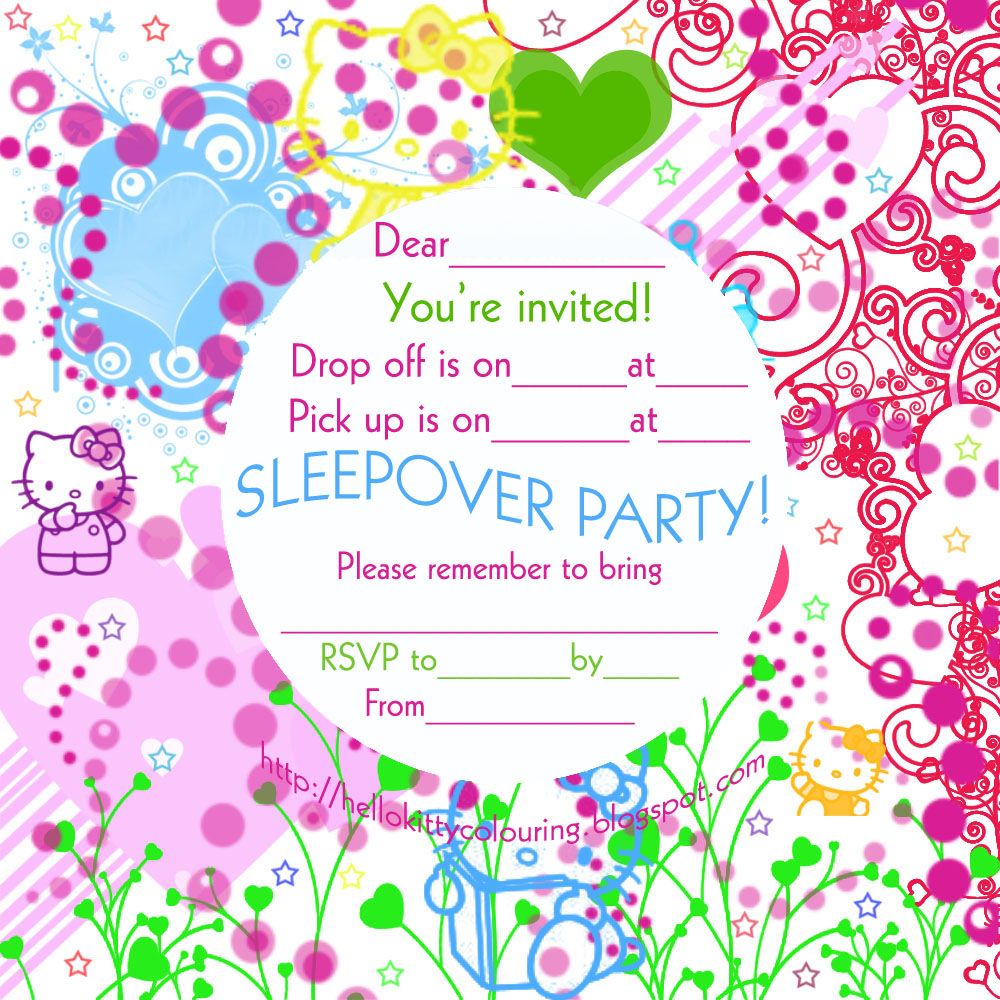 invitations for sleepover party if you like hello kitty then you re going to love these slumber party invitations and if you re going to have a hello kitty sleepover party