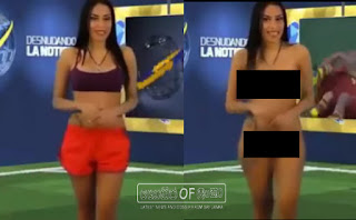 Female Venezuelan TV presenter fulfils her promise to strip off on TV if team win