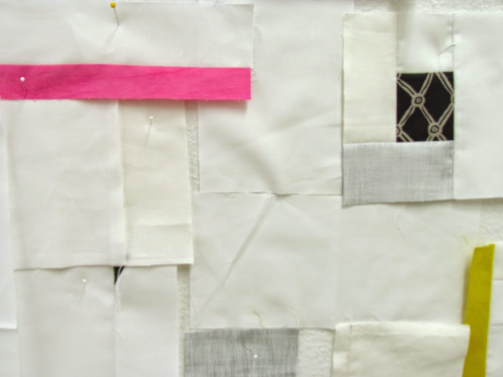 modern, minimal quilt on design wall.......Marty Mason