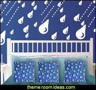 Raindrops Blue Cotton Throw Pillow Cushion Case Rain Drops wall decals