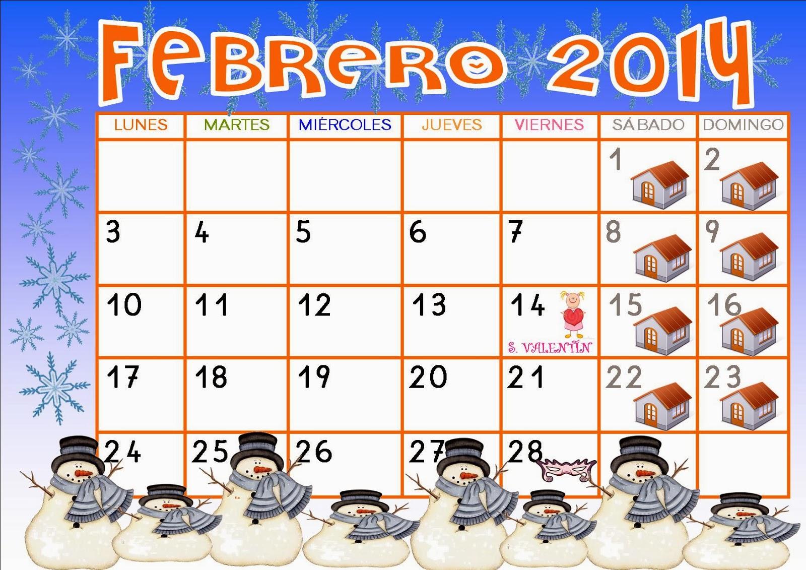 Calendario Febrero 2014 Calendario febrero 2014