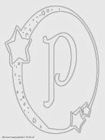 Mewarnai Gambar Huruf Alfabet P Bergaya Bulan Bintang
