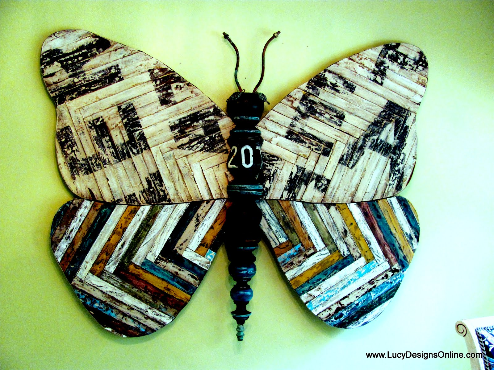 Great giant wooden recycled butterfly art reclaimed vintage look