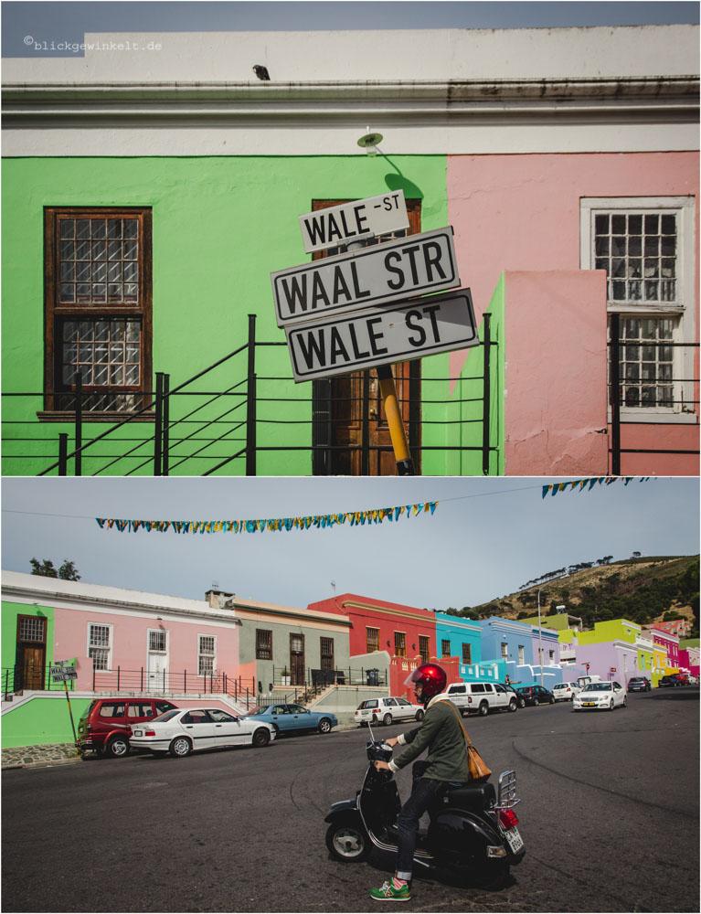 Bunte Häuser im Bo-Kaap Viertel Kapstadts