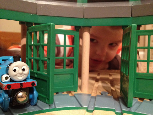 My little guy and his Thomas the tank engine!