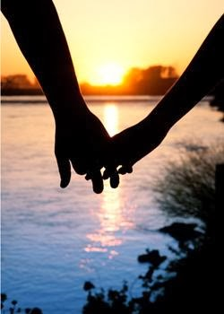 Love? Yeah, Right - man woman love romance holding hands sunset