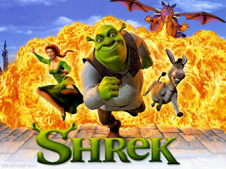 Shrek, Fiona and the donkey running from an explosion