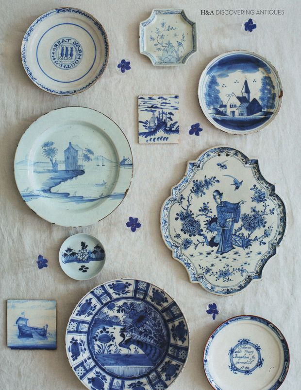 1000 images about wonderful wall decor on pinterest for Decorating with blue and white pottery