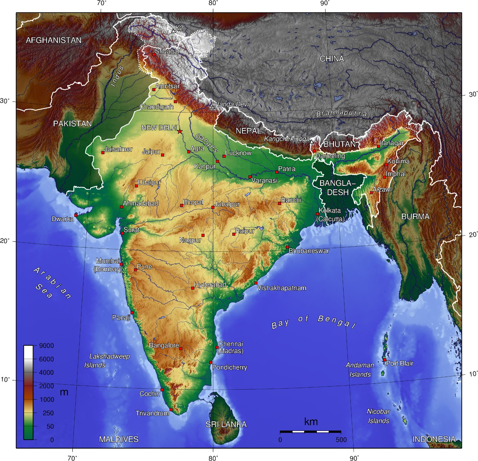 Marco Carnovale Map of India physical and political
