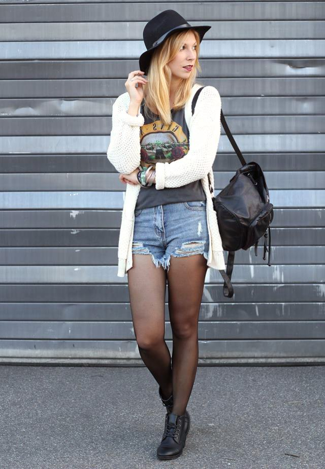 Fashionblogger Outfit High Waist Jeans Cardigan Hut Rucksack
