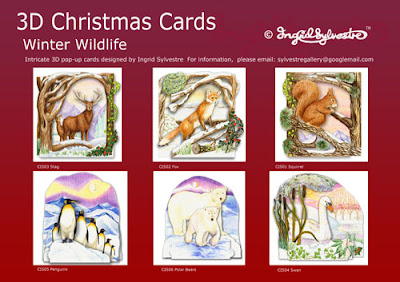 3D pop up Christmas Cards Winter Wildlife by Ingrid Sylvestre Stag Fox Squirrel Penguins Polar Bears Swan pop up Greeting Cards
