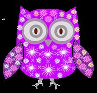 Coruja floral roxa - Criação Blog PNG-Free