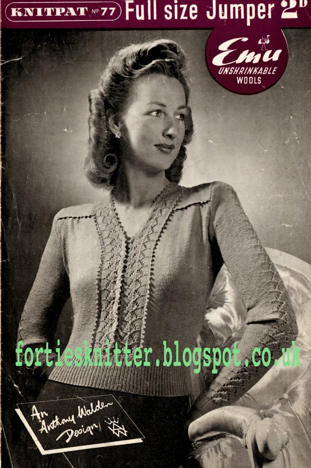 1940's Knitting - Knipat No.77 Full Size Jumper free pattern