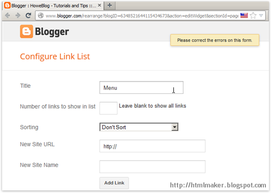 Link List Widget Error