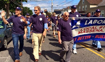 Aaron Woolf and Rep. Bill Owens March in Massena Labor Day Parade