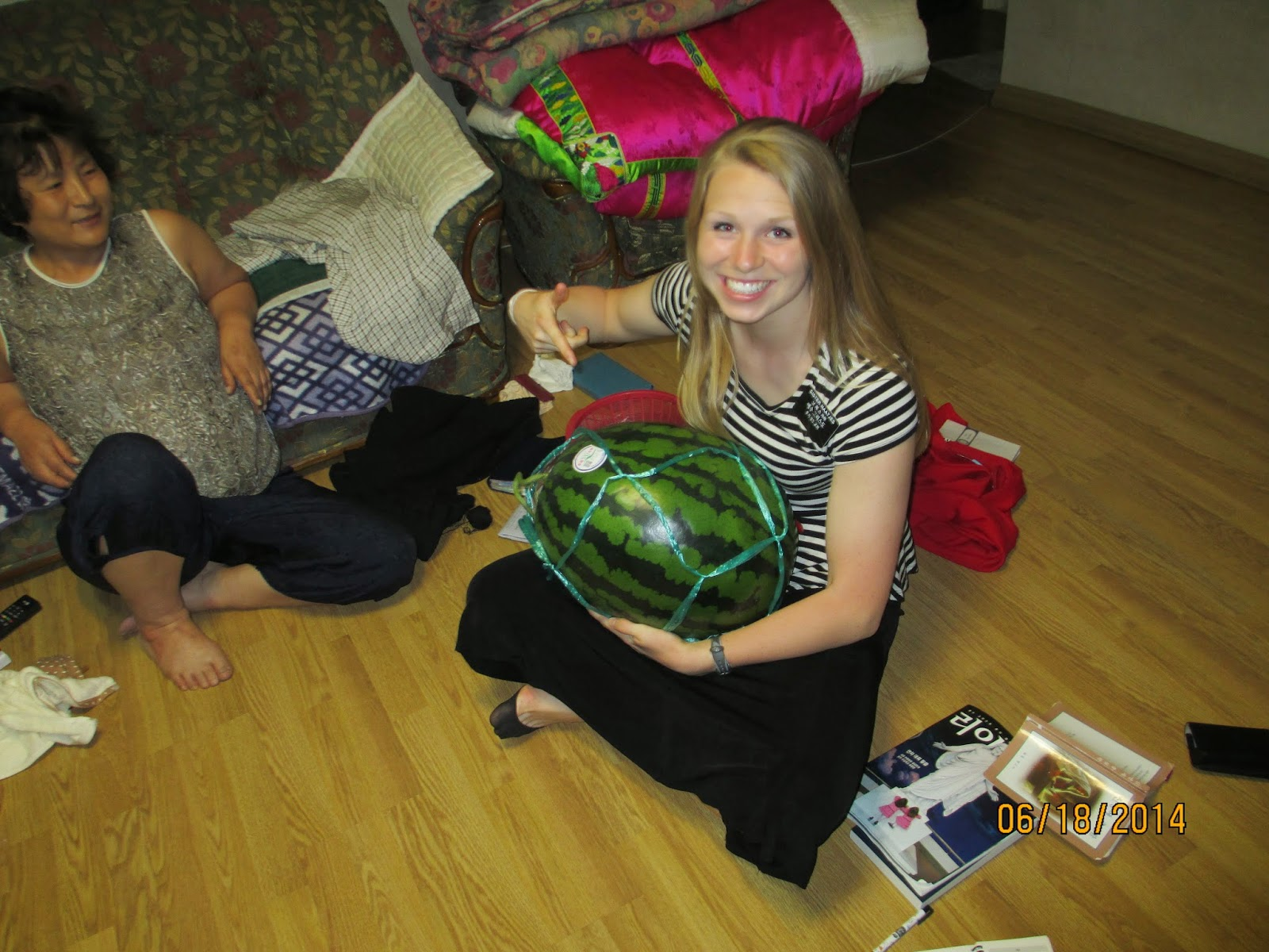 A REALLY big watermelon that we ate with a recent convert in our ward, 서향주 (so-hyeong-ju).