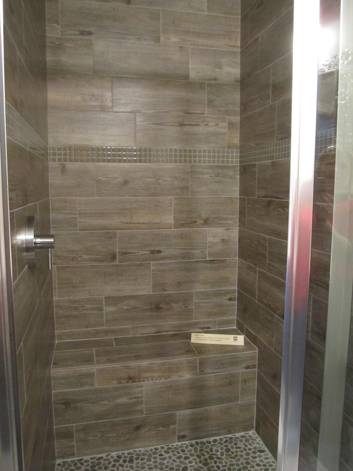 grey wood grain tile brown cabinets bathroom Google Search