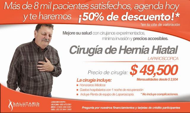 Cirugia para corregir hernia hiatal reflujo laparoscopica en guadalajara mexico precio costo
