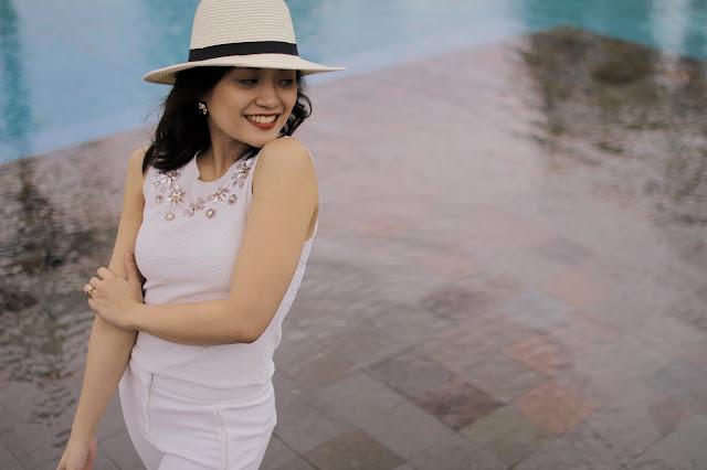 head to toe white, lipa batangas, la finca, river island hat