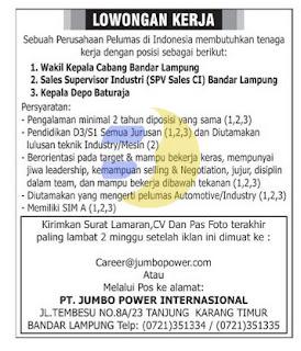Lowongan Kerja Lampung, minggu 05 Juli 2015 terbaru lampung