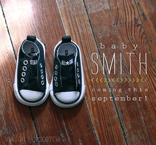 pregnancy announcement, baby, baby smith, baby shoes, chuck taylors, converse, blog announcement,