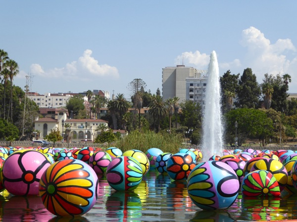 MacArthur Park Spheres lake installation 2015