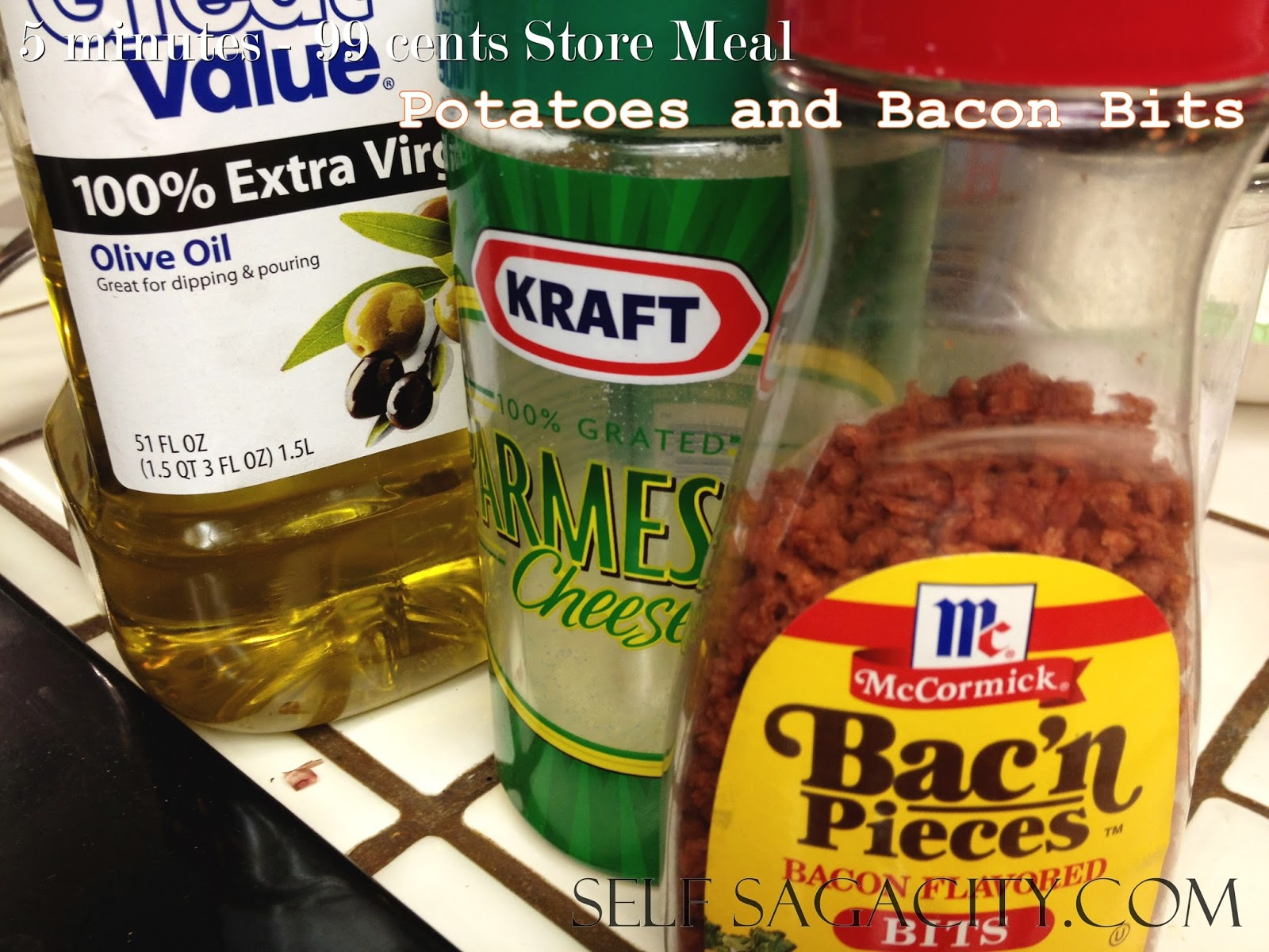 The Following Items Were Found At A 99 Cents Store Potatoes Bacon Bits And Kraft Parmesan Cheese Can Be Put Together Into