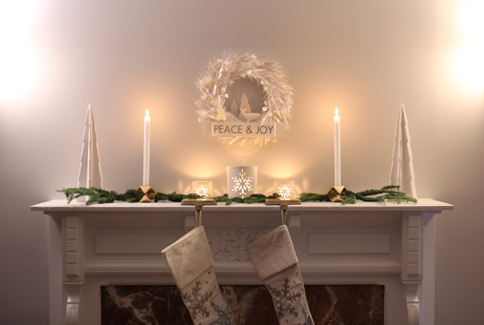 holiday decorations on the mantel