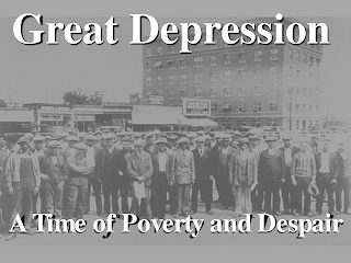 a group of people in the street during the great depression
