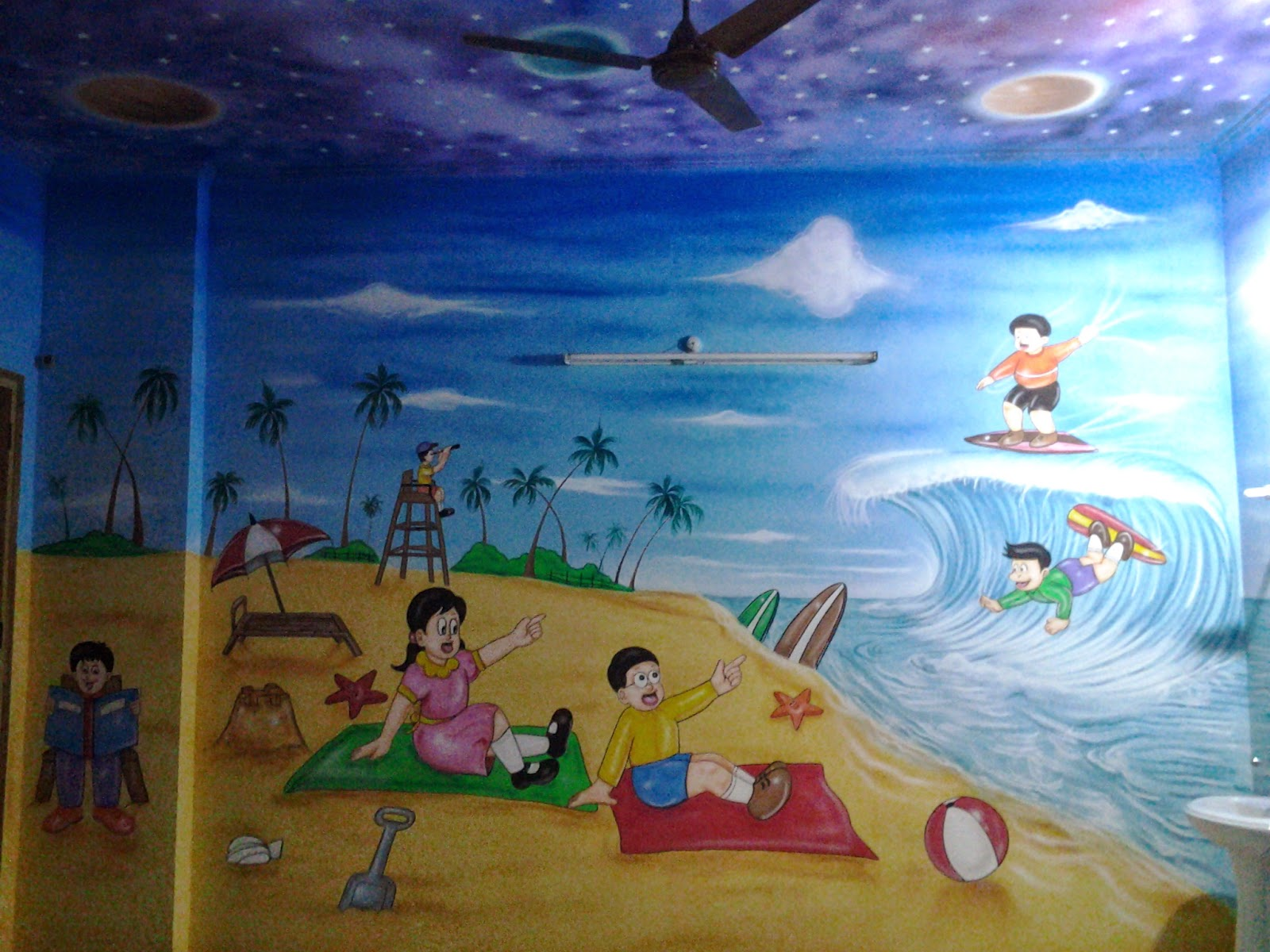 Play school wall painting 3d wall painting cartoon for Paintings of toddlers