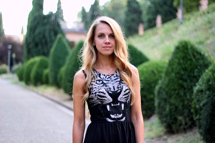 outfit, black animalier dress, Zara boots