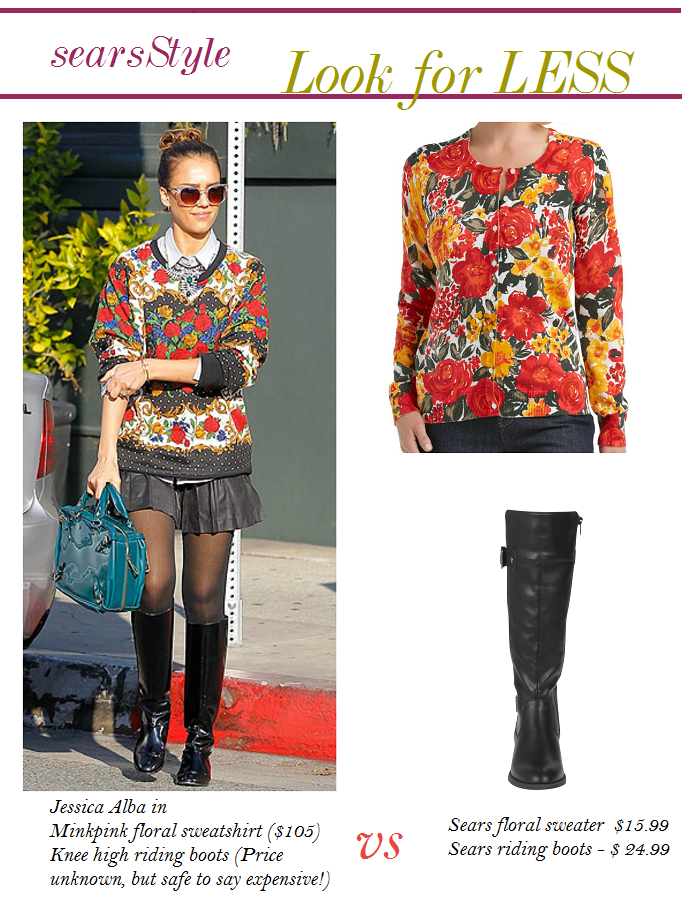 Jessica Alba Look For Less, Anne Hathaway Floral Sweatshirt, Jesica Alba Look for Less, #ThisisStyle #Cbias #shop
