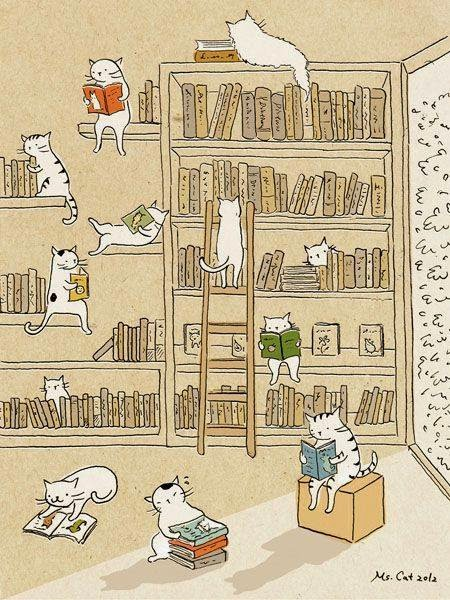 Illustration of cats reading books