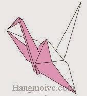 Bước 15: Hoàn thành cách xếp con chim hạc hai màu khác nhau bằng giấy đơn giản.