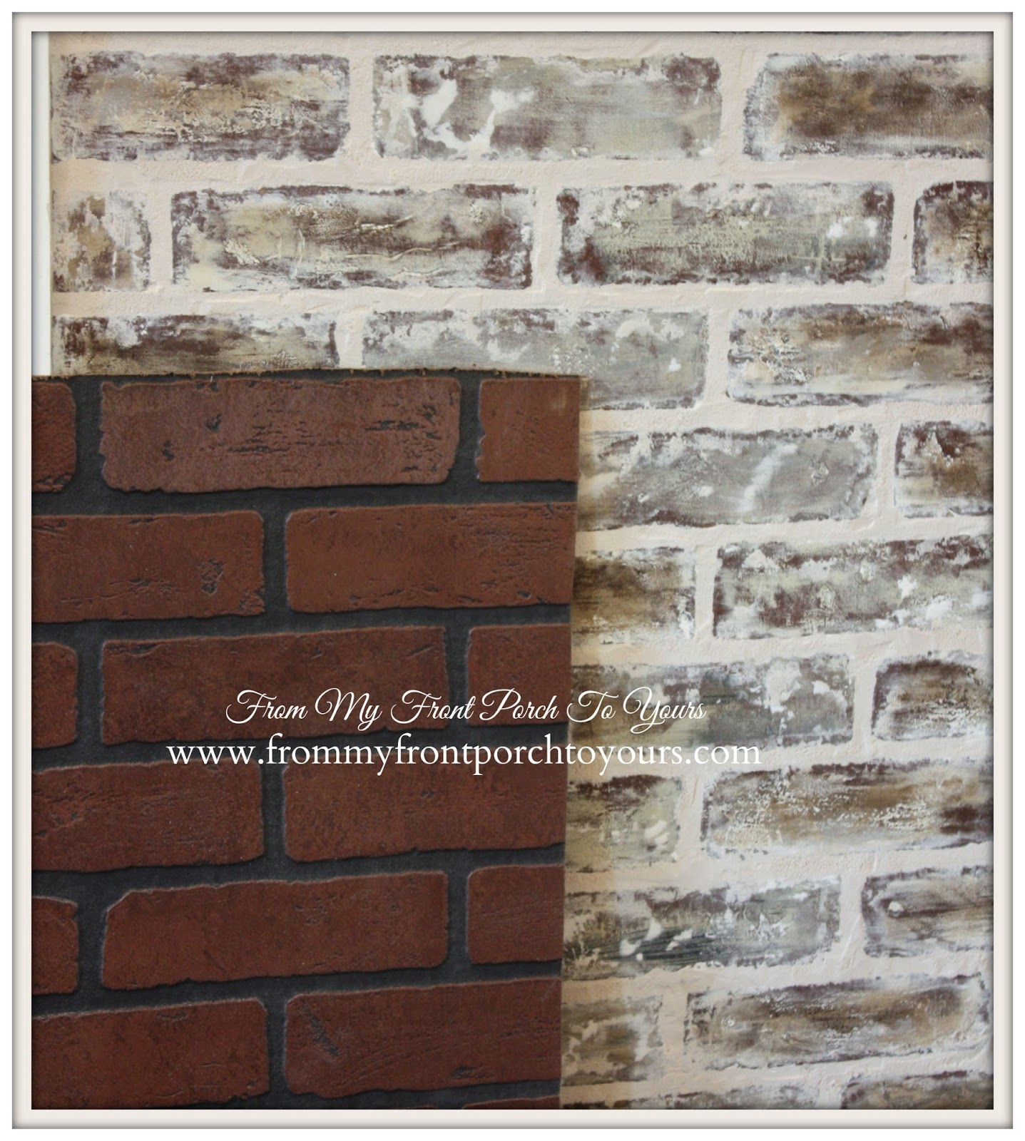 front porch to yours diy faux brick wall tutorial using chalk paint. Black Bedroom Furniture Sets. Home Design Ideas