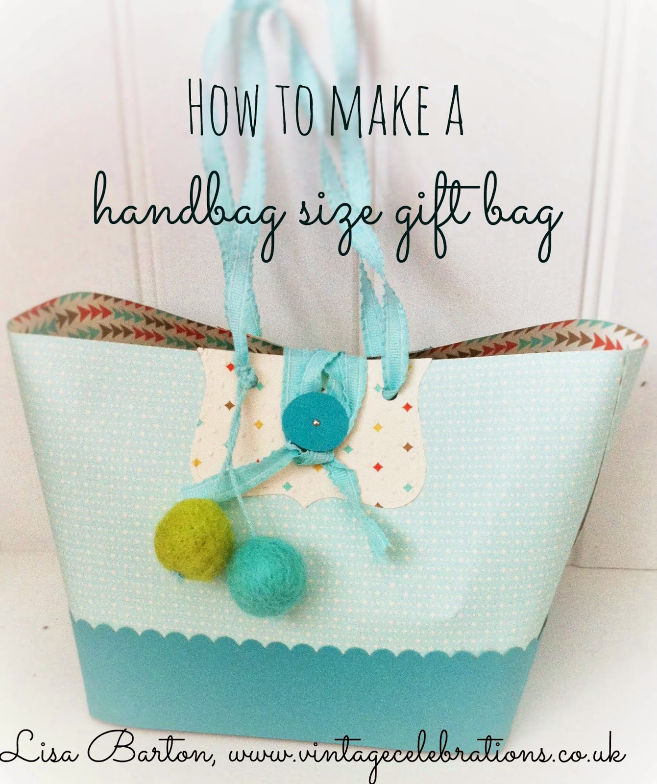 How to make a handbag size paper gift bag video tutorial by Lisa Barton, Vintage Celebrations