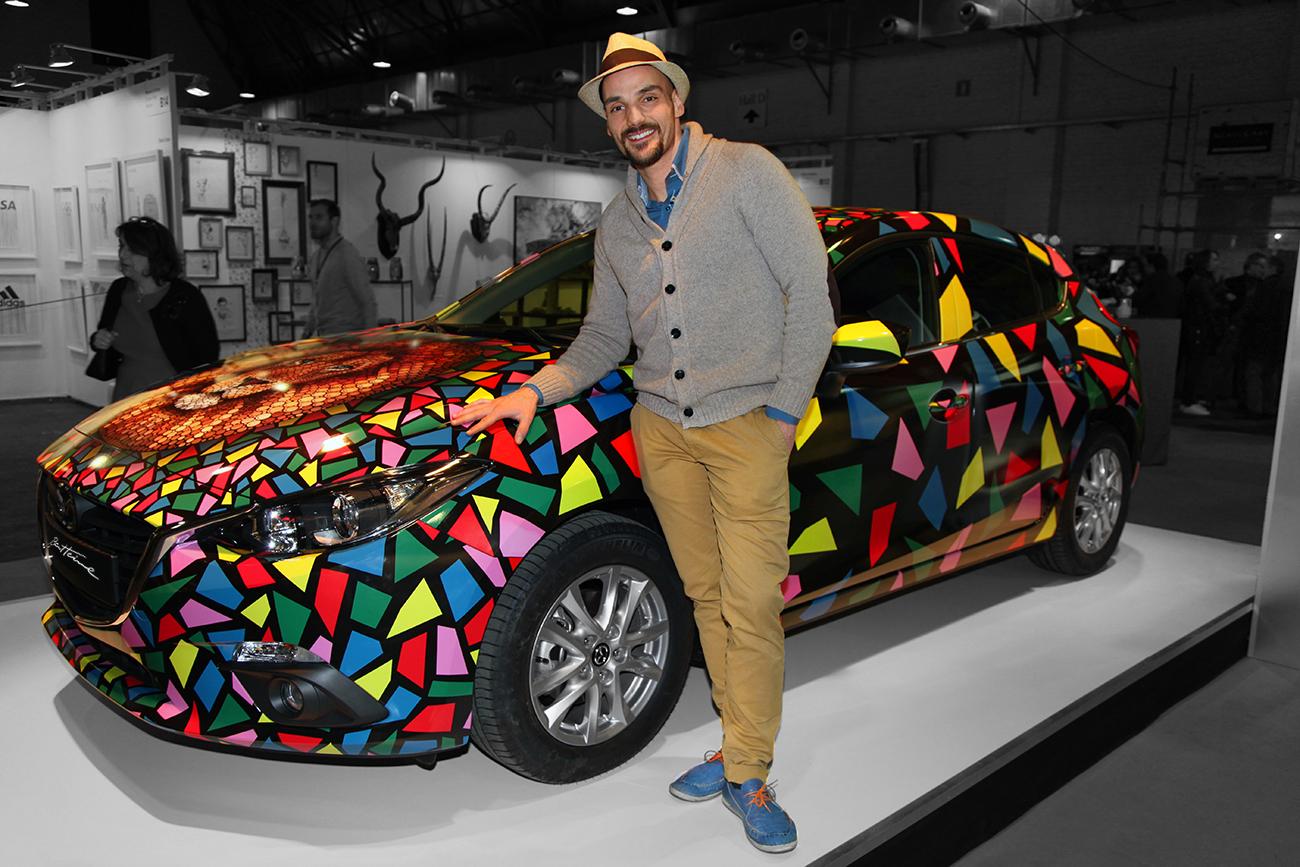 Artist Ben Heine and Mazda 3 car