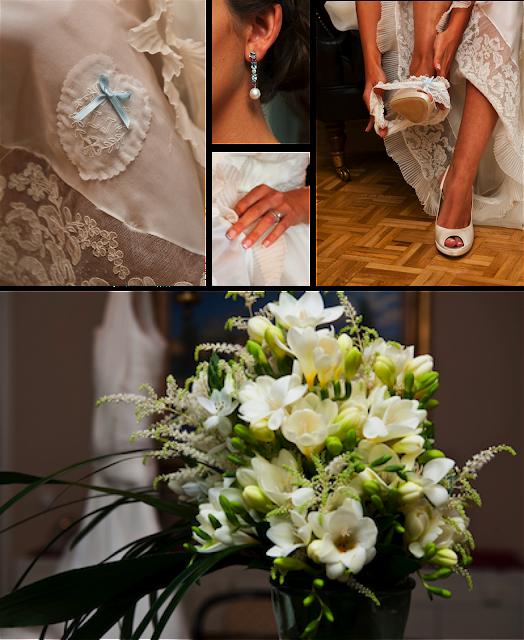 Joyas, ramo y zapatos de novia