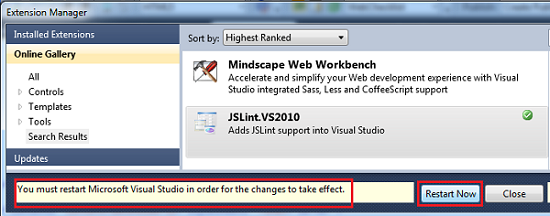 "Click ""Restart Now"" Button for Restart Visual Studio 2010"