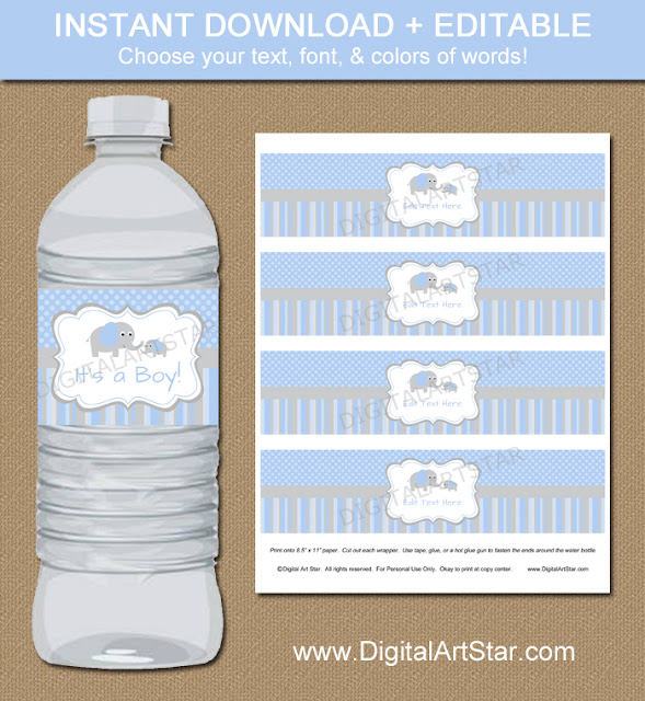 Editable elephant drink wrappers for baby shower in blue & grey