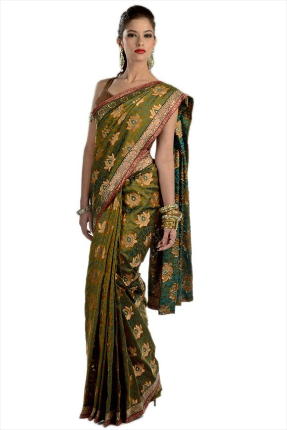Leaf Green Chanderi Banarasi Saree