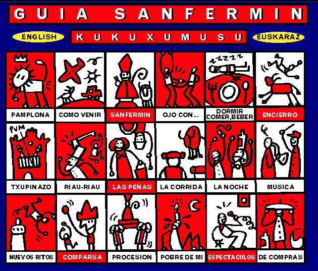 Captura de la home de Sanfermin.com en 1998-fuente archive.org