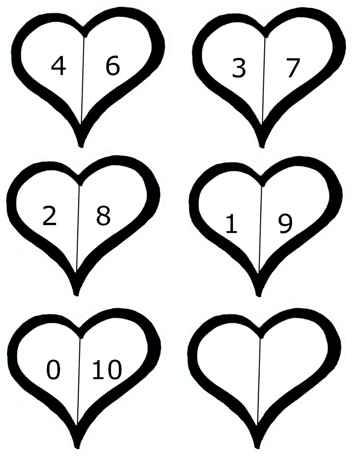 valentines math freebie decomposing 10 preschool powol packets
