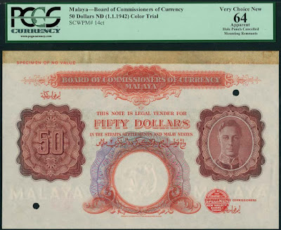 Fig 3. Lot 128 Board of Commissioners of Currency, Malaya, colour trial $50, ND (1942) [ Image courtesy of Spink ]