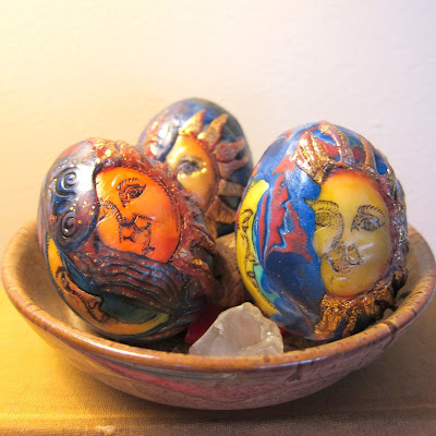 Celestial themed polymer eggs by Marie Young Creative